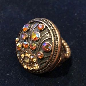 Jewelry - Antique copper stretchy amber bronze crystal ring